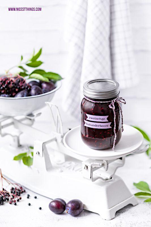 Zwetschgen Holunder Marmelade mit Vanille und klei...