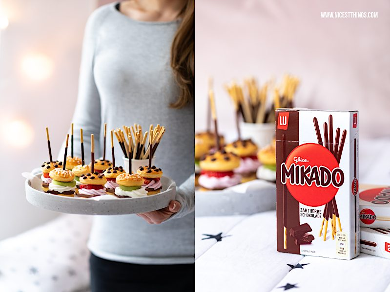 Mikado Serienabend Snack suesse Mini Burger Fingerfood