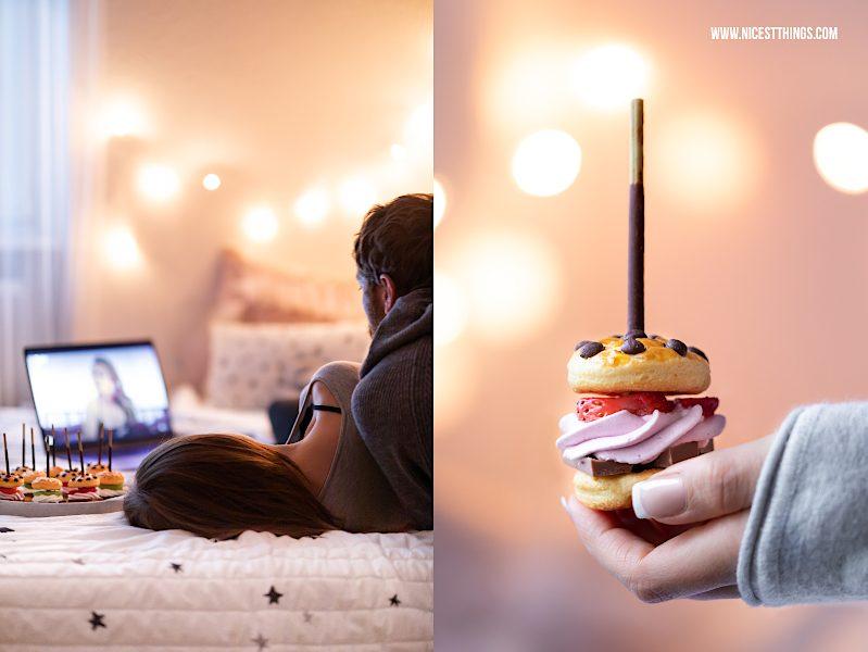 Serienabend Fernsehabend Snack Fingerfood süße Mini Burger am Mikado Stick