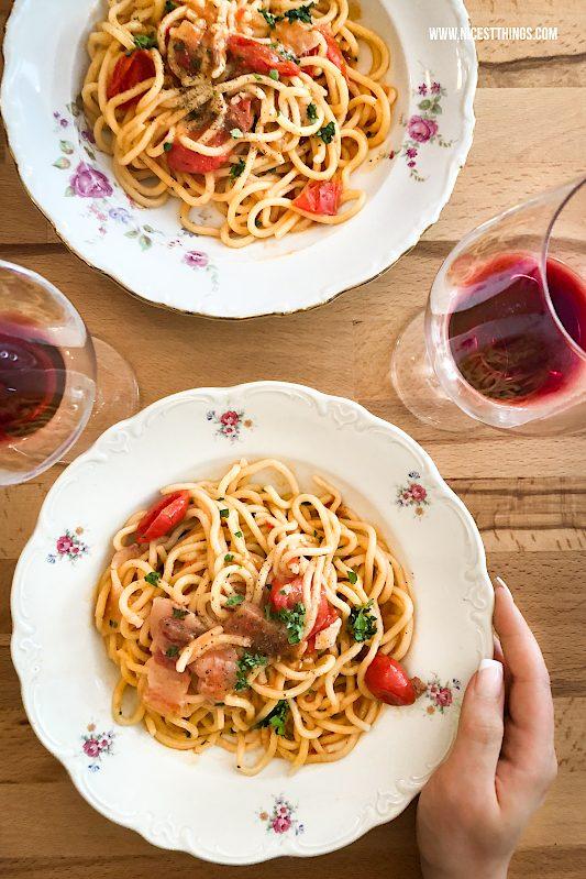 Spaghetti mit Pancetta und Tomaten Bigoli von Pastificio Tosatti Berlin Food Guide #spaghetti #bigoli #berlin #tosatti #pasta