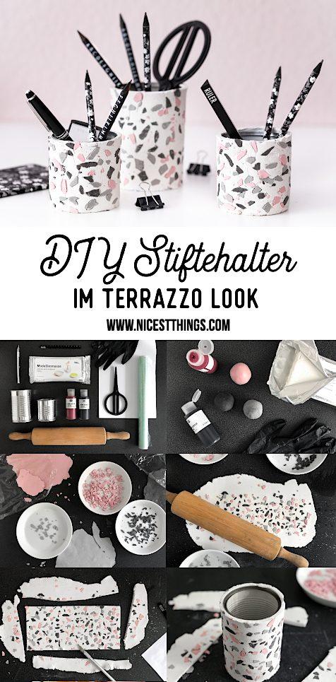 Terrazzo DIY Stiftehalter selber machen Modelliermasse #terrazzo #diy #stiftehalter #homeoffice #bastelideen #geschenkideen #modelliermasse