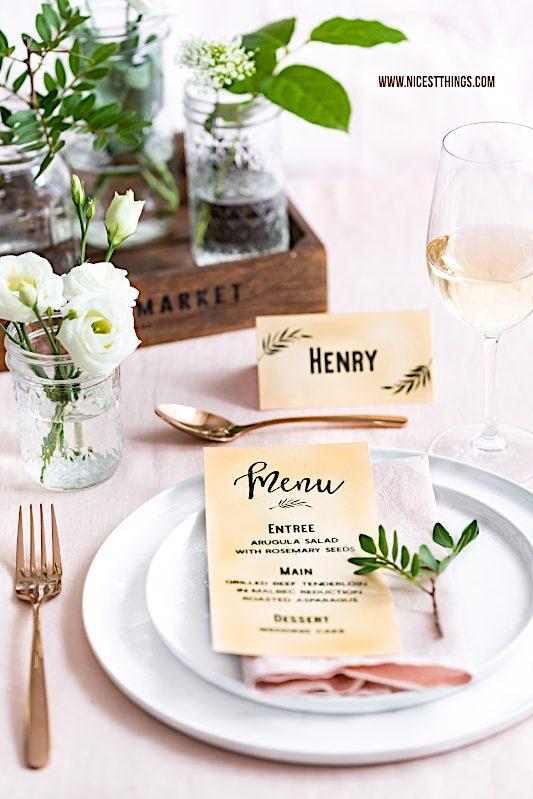Vintage Tischdeko Hochzeit selber machen Hochzeitspapeterie DIY Menükarten #vintage #hochzeit #wedding #papeterie #menükarten