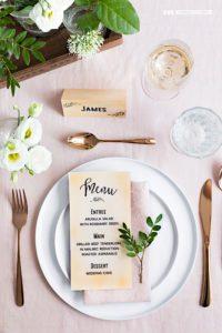 Vintage Tischdeko Hochzeit DIY Menükarten DIY Tischkarten selber machen