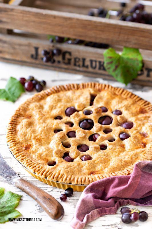 Trauben Tarte Weintrauben Pie Rezept Zimt Marzipan #traubentarte #trauben #pie #piecrust
