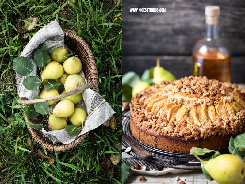 Birnenkuchen Birnen Kuchen Rezept mit Streuseln haselnuss Streusel braune Butter Butterscotch Karamell #birnen #birnenkuchen #haselnuss #streuselkuchen #herbstkuchen #butterscotch