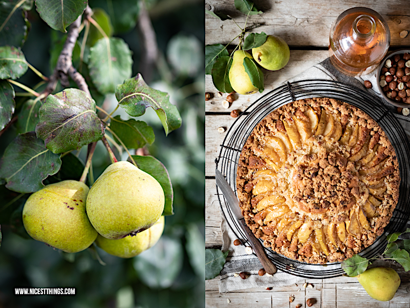 Karamellisierter Birnen Kuchen mit Haselnuss Streuseln brauner Butter und Butterscotch #birnenkuchen #herbstrezept #streuselkuchen #nusskuchen #butterscotch #braunebutter