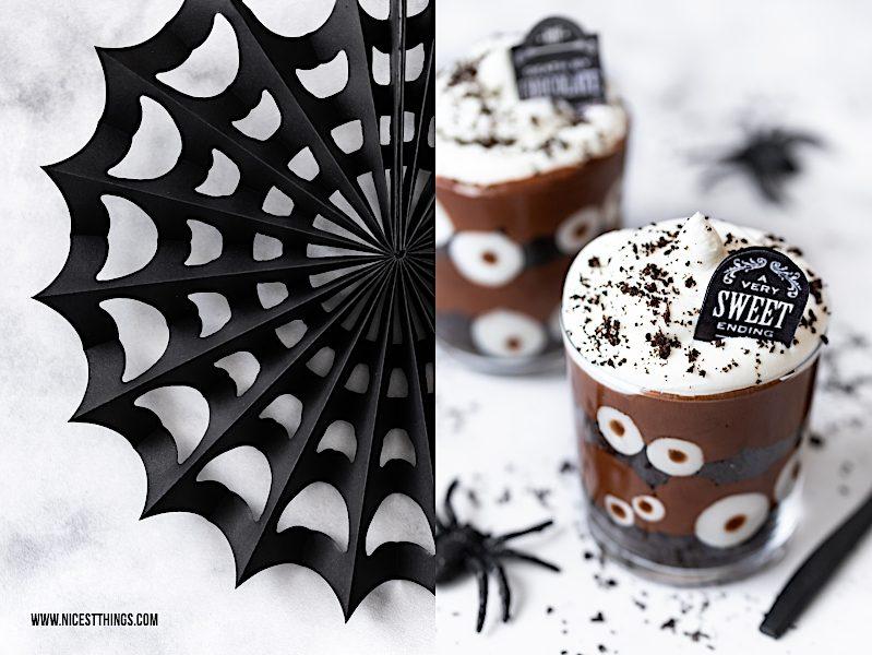 Halloween Dessert im Glas gruselig Augen Friedhof Grabstein Oreos
