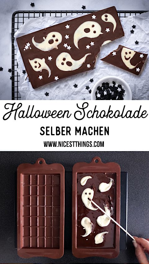Halloween Schokolade Halloween Suessigkeiten selber machen Geister #chocolatebark #halloween #ghosts #halloweenrezepte #halloween #schokolade