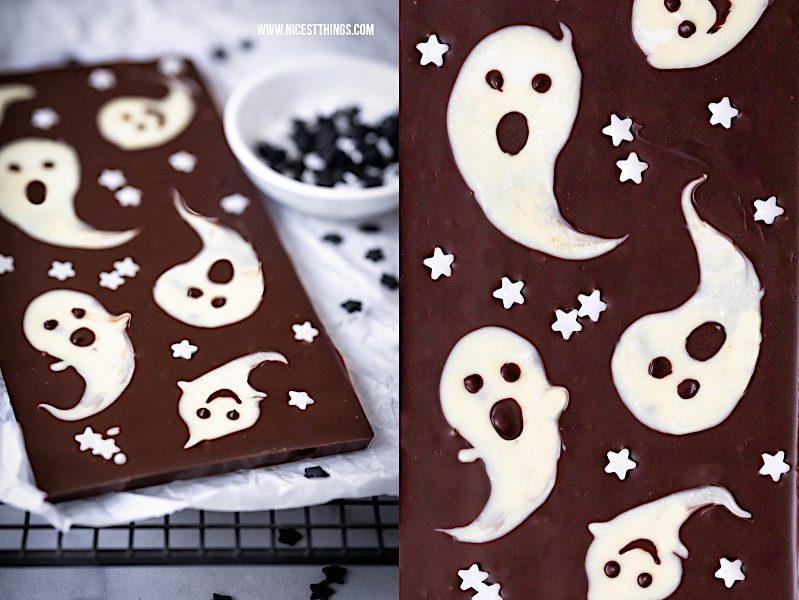 Halloween Süßigkeiten selber machen Geister Schokolade