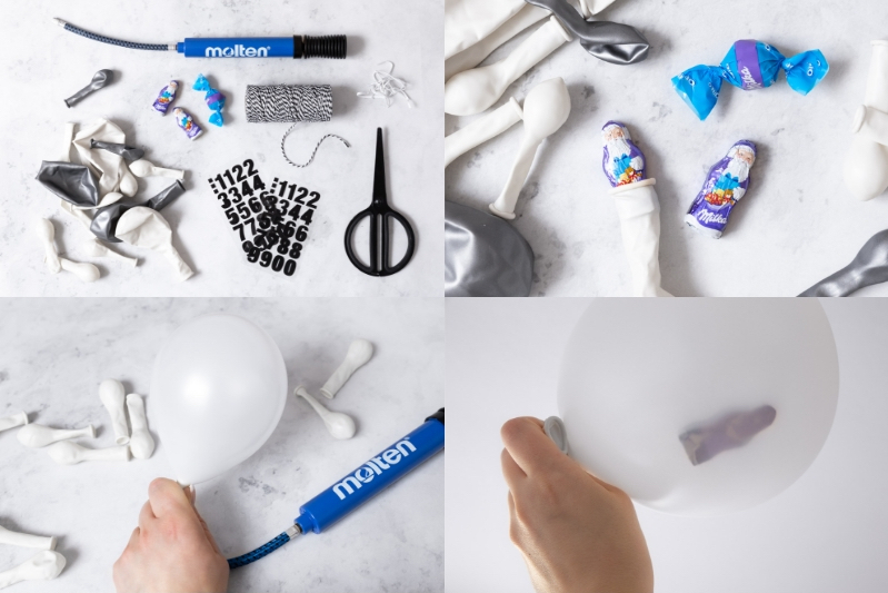 Luftballon Adventskalender basteln Anleitung