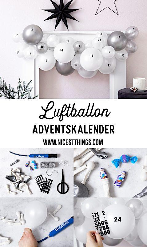 Luftballon Adventskalender DIY originelle Adventskalender Girlande mit Ballons #adventskalender #luftballons #balloons #diy #diyadventskalender
