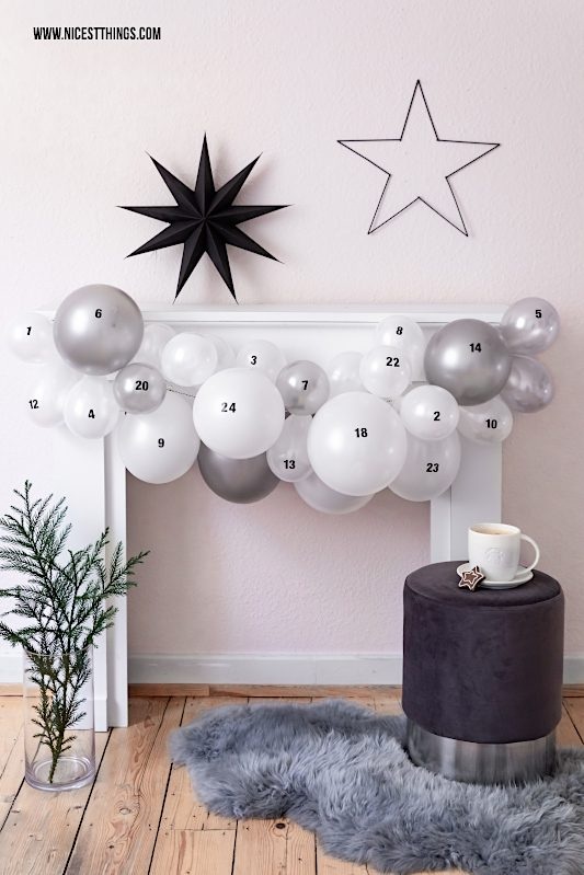 DIY Luftballon Adventskalender mit Luftballons Girlande Balloon Advent Calendar #diy #adventskalender #luftballons #ballons #balloons #balloondiy #christmas #xmas #weihnachten