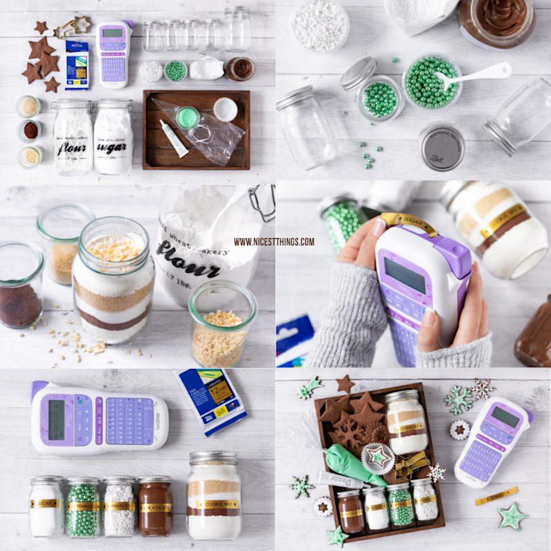 DIY Plätzchen Set Cookie Decorating Kit DIY Weihnachtsgeschenk mit Brother P-touch und TZe Glitzerband Gold