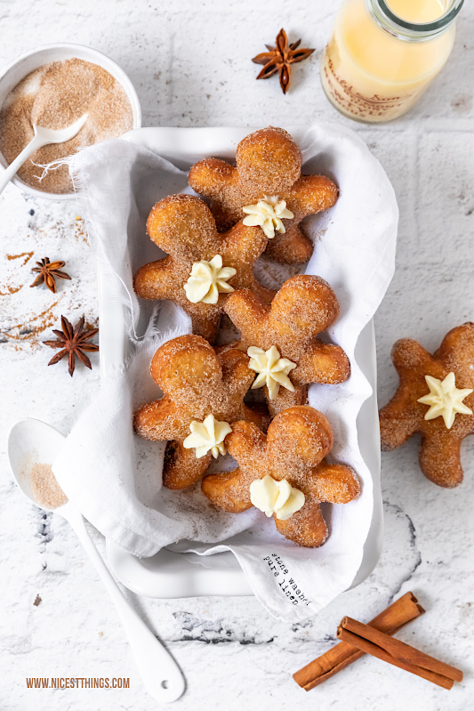 Gingerbread Man Donuts Lebkuchen Berliner Lebkuchenmann Eierlikör Eggnog #lebkuchenmann #lebkuchen #berliner #gingerbread #donuts #gingerbreadman #weihnachtsrezepte