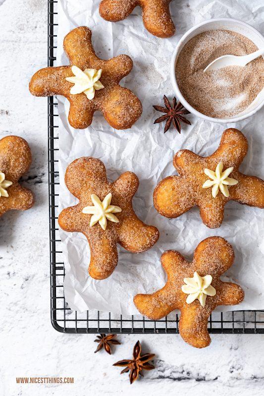 Gingerbread Man Donuts Lebkuchenmann Lebkuchen Berliner Eierlikör Eggnog #lebkuchen #lebkuchenmann #gingerbread #gingerbreadman #donuts #eggnog #eierlikör #weihnachtsrezepte
