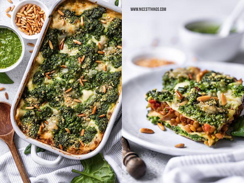 Vegane Lasagne Spinatlasagne Linsenlasagne Spinat Pesto Linsen Bolognese