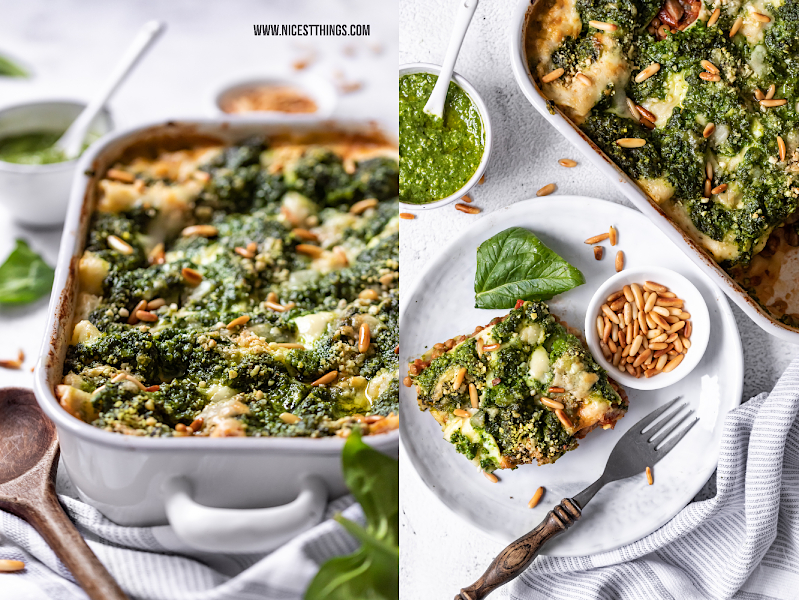 Lasagne vegan Rezept Spinat Pesto Linsen Bolognese