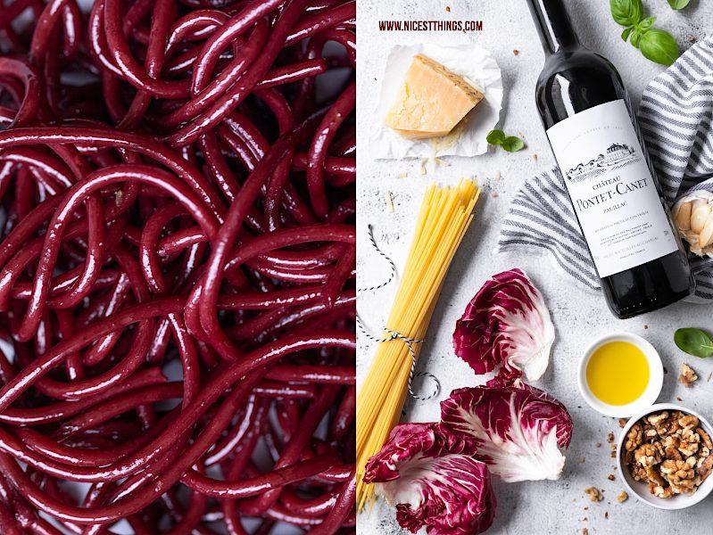 Drunken Pasta Rezept Spaghetti mit Radicchio, Walnüssen und Parmesan