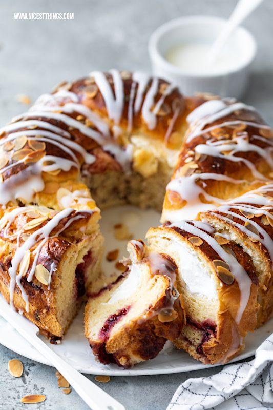 Hefezopf Rezept Ostern Hefekranz gefüllt Quark Frischkäse Konfitüre Osterbrunch #hefezopf #rezept #hefekranz #ostern #osterbrunch #osterzopf #hefeteig #osterrezepte #backrezepte #easter #babka