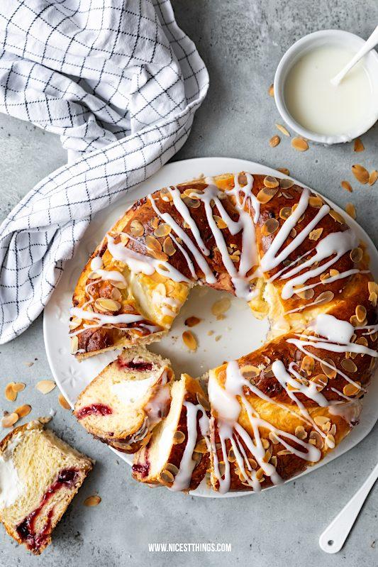 Hefezopf Rezept Ostern Hefekranz gefüllt Quark Frischkäse Brombeeren Osterbrunch #hefezopf #rezept #hefekranz #ostern #osterbrunch #osterzopf #hefeteig #osterrezepte #backrezepte #easter #babka