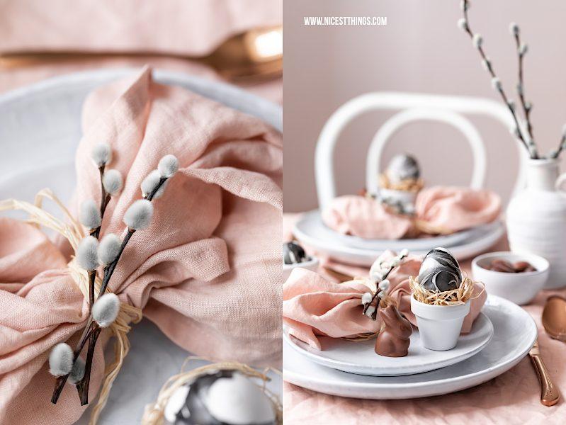 Tischdeko Ostern Rosegold Marmor Eier