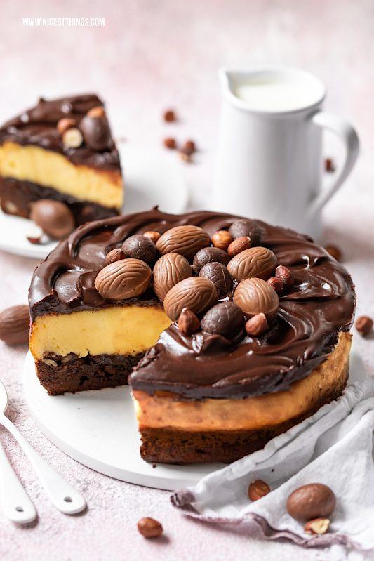 Brownie Cheesecake mit Eierlikör aus Haselnuss Brownie und Eierlikör Cheesecake #cheesecake #brownie #browniecheesecake #cheesecakebrownie #eierlikör #eierlikörrezepte #ostern #osterrezepte