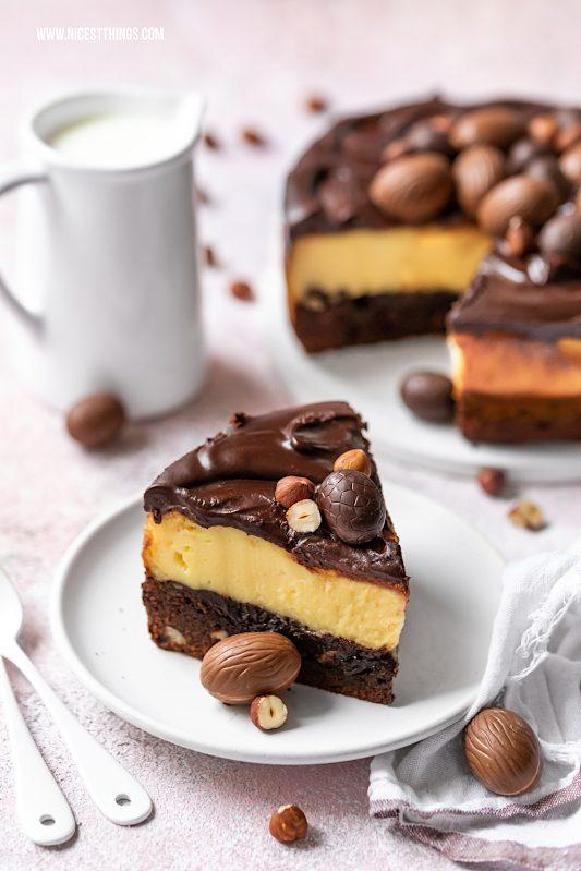Brownie Cheesecake mit Eierlikör aus Haselnuss Brownie und Eierlikör Cheesecake #cheesecake #brownie #browniecheesecake #cheesecakebrownie #eierlikör #eierlikörrezepte #ostern #osterrezepte #haselnuss