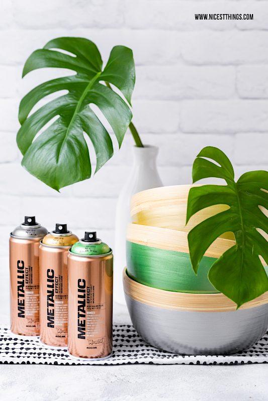 Montana Cans Metallic Sprühfarbe Bambus Schalen DIY #sprühfarbe #bambus #bambusschalen #metallic #montanacans #allspraypainted