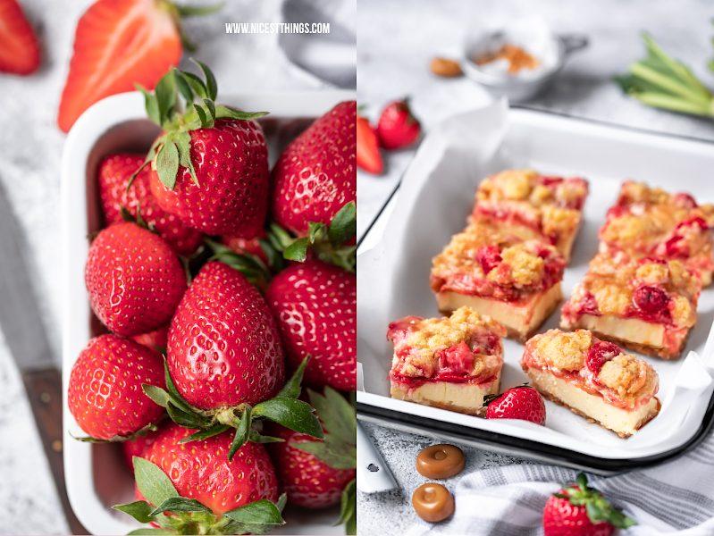Rhabarber Streuselkuchen mit Erdbeeren, Mascarpone, Karamellbonbons