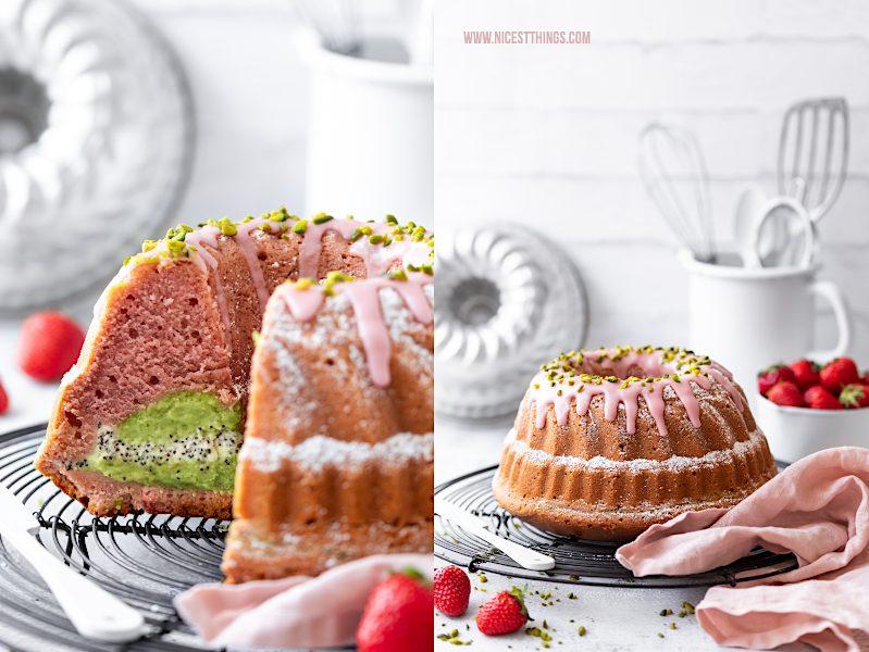 Erdbeer Gugelhupf mit Pistazien Cheesecake Kern Erdbeer Rührkuchen Erdbeer Rührkuchen Erdbeeren Guglhupf Rezept Strawberry Bundt Cake