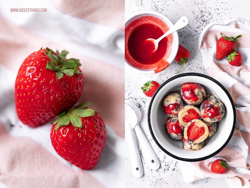 Quarkknödel Rezept mit Erdbeeren Topfenknödel Erdbeerrezept Erdbeerknödel mit Mohn
