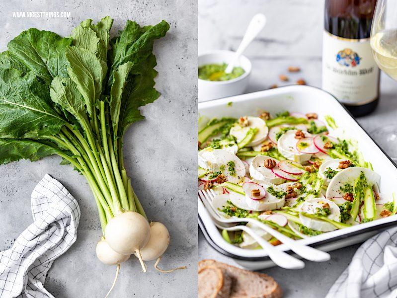 Mairübchen Salat Mairübchen Rezept mairüben Carpaccio mit Ziegenkäse Radieschen grünem Spargel Pekannüssen Frühlingssalat kalorienarm Grillen Grillrezepte