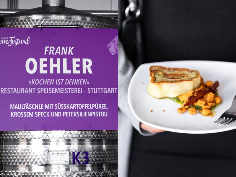 Frank Oehler Maultaschen Süßkartoffelpüree Speck Löwenfestival