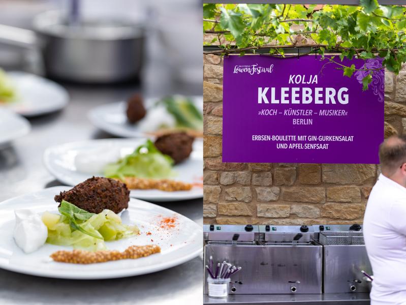 Kolja Kleeberg Erbsen Boulette mit Gin Gurkensalat auf dem Löwenfestival Kallstadt 2019