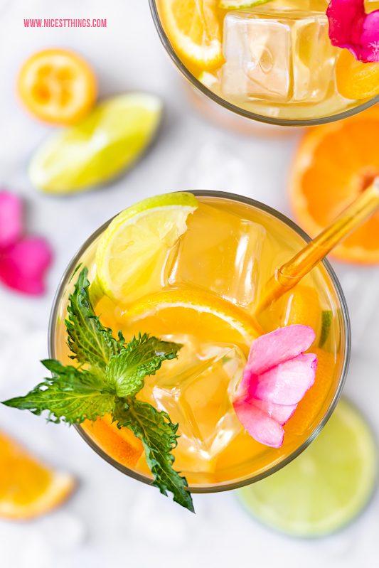 Calamansi Cocktail Eistee Drink Rezept Mandarine Grüntee Kalamansi Limette #calamansi #kalamansi #cocktail #vomfass #calamansibalsam #drink #cocktail #eistee #mandarine #limette #grüntee