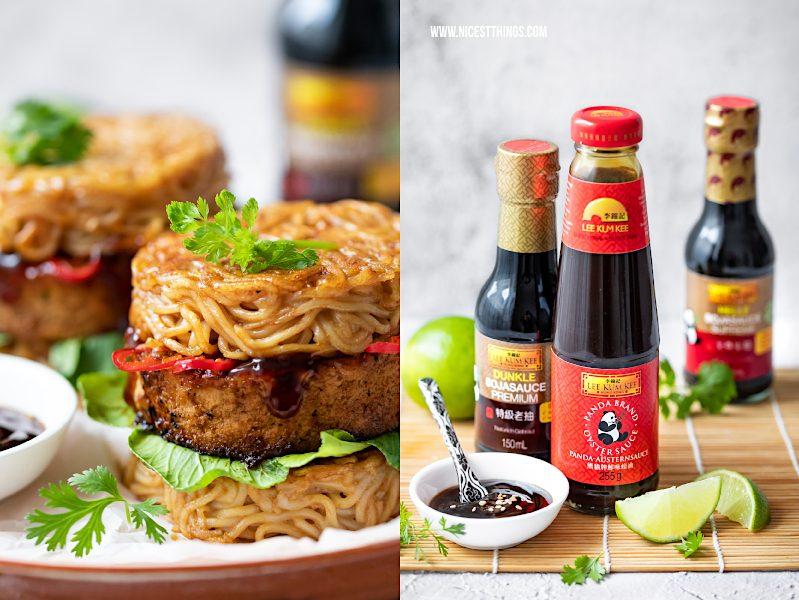Ramen Burger Rezept mit Lee Kum Kee Austernsauce und Sojasauce