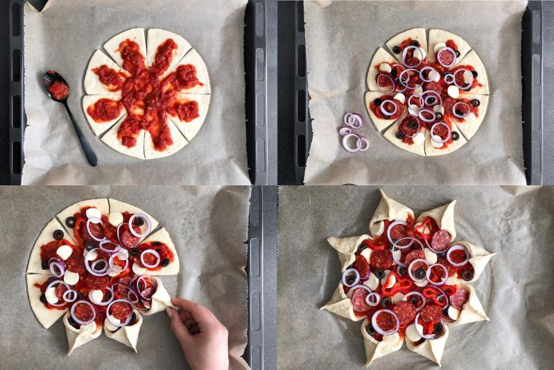 Pizzs Stern Rezept Stern Pizza in Sternform Anleitung Partyrezept Pizzastern