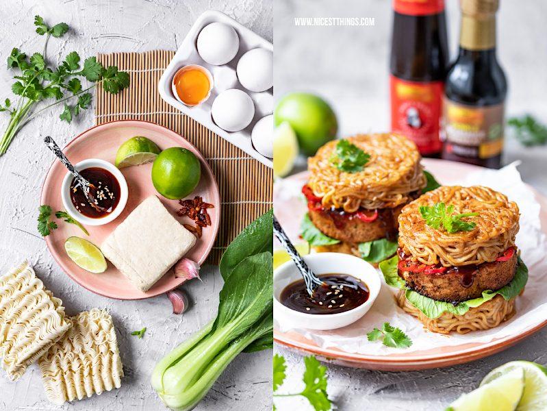 Zutaten für ramen Burger Rezept mit knusprigem Tofu und Pak Choi