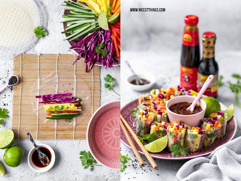 Sommerrollen rollen falten auf Bambusmatte mit Mango und Regenbogen Salat