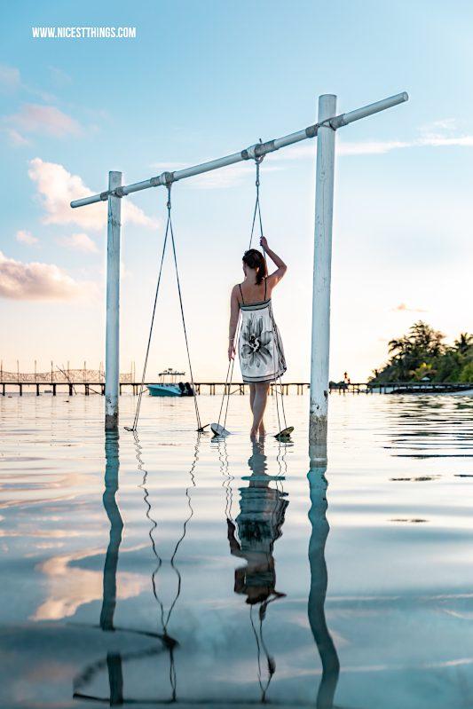 Schaukel im Wasser Fotoshooting Malediven Lux South Ari Atoll #schaukel #swing #malediven #maldives #lux #southari #luxsouthari #luxsouthariatoll