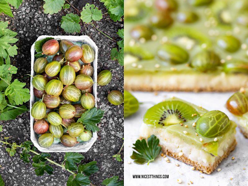 Stachelbeerkuchen Stachelbeer Kuchen Rezept vegan glutenfrei kalorienarm Kiwi Stachelbeeren