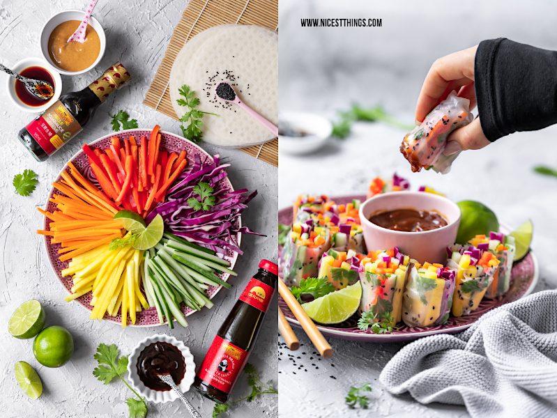 Teller mit bunten Gemüsestreifen für Regenbogensalat und Sommerrollen mit Dip Lee Kum Kee