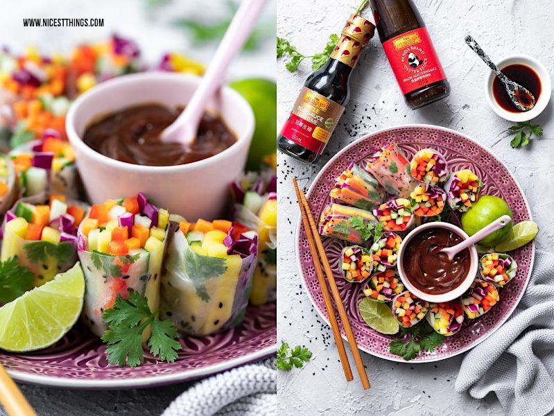 Helle Sojasauce und Austernsauce von Lee Kum Kee zu Sommerrollen mit Regenbogen Salat