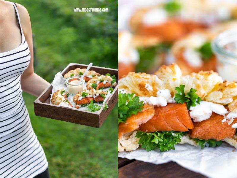 Holztablett mit Blätterteig Croissants mit Friedrichs Feinfisch Stremel Lachs