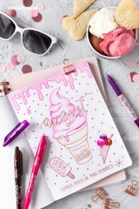 Bullet Journal Ideen: Monatsübersicht August Monat Month #bulletjournal #bujo #journal #august #month #planner #organizing #pilotpen #pilotfrixion #icecream