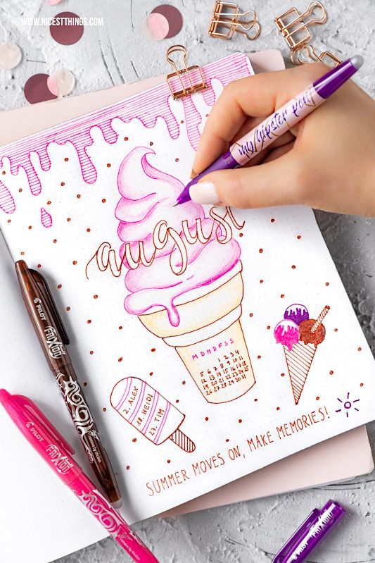 Bullet Journal Ideen: Monatsübersicht August Monat Month #bulletjournal #journal #august #month #planner #organizing #pilotpen #pilotfrixion #icecream