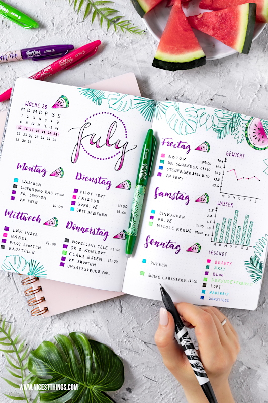 Bullet Journal Ideen: Wochenübersicht Woche Week Juli July #bulletjournal #journal #july #month #planner #organizing #pilotpen #pilotfrixion