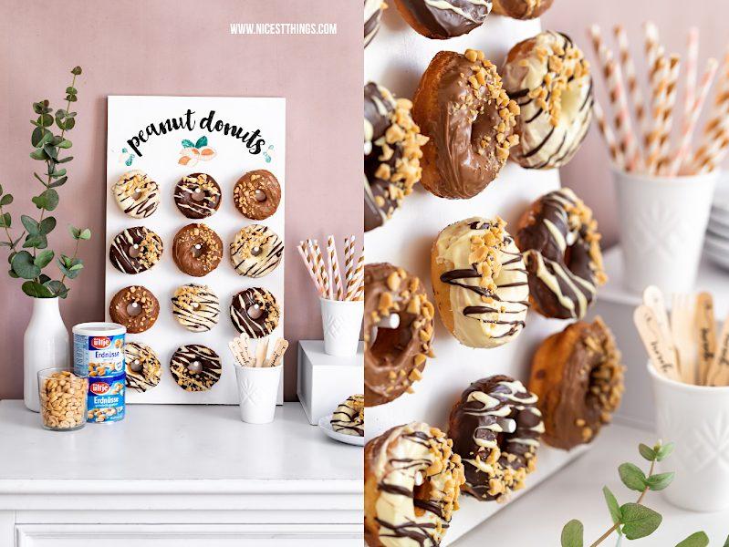 Donut Wand selber machen Donut Wall DIY Hochzeit Party Erdnuss Donuts