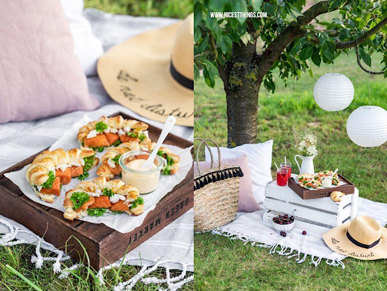 Picknick unter Kirschbaum mit Blätterteig Croissants mit Stremel Lachs