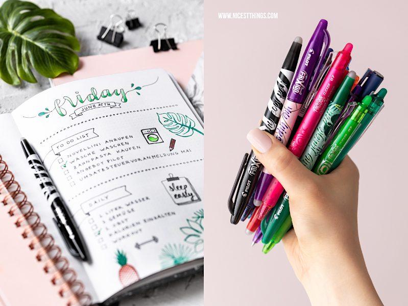 Bullet Journal Ideen: Stifte PILOT Pen Pilot Frixion #bulletjournal #journal #friday #daily #planner #kalender #organizing #pilotpen #pilotfrixion